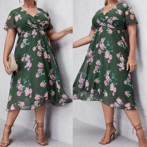 Plus floral print A line dress